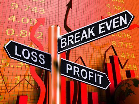 Loss Profit Or Break Even Signpost Shows Investment Earnings 3d Illustration 版權商用圖片