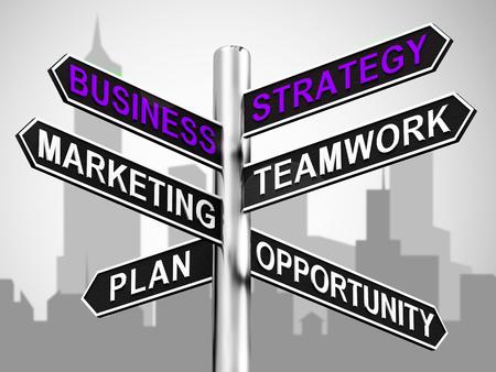 Business Strategy Signpost Showing Teamwork Marketing 3d Illustration Stock Photo