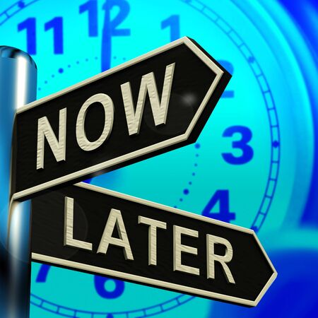 Now Or Later Signpost Shows Delay Deadlines 3d Illustration Archivio Fotografico