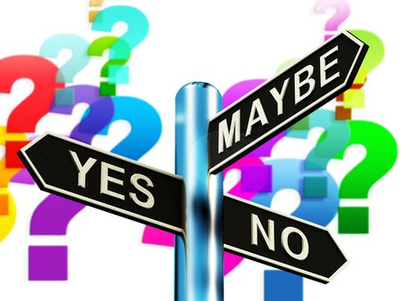 Yes No Maybe Signpost Showing Voting Decision 3d Illustration