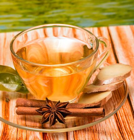 Spiced Ginger Tea Representing Refreshments Herbals And Teas