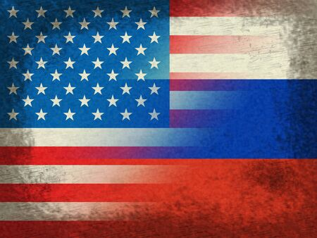 United States And Russian Flags Grunge Representing Hacking Stock Photo