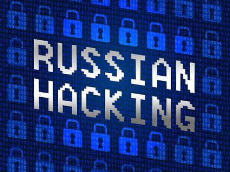 Russian Hacking Locks Showing Election Data 3d Illustration