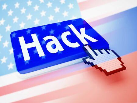 Hack Keyboard Key Pressed Showing Hacking 3d Illustration