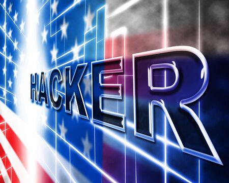 Hacker Flag Glowing Design Showing Hacking 3d Illustration
