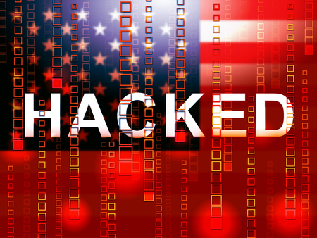 Hacked American Flag Meaning Hacking Election 3d Illustration