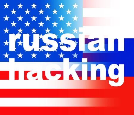 Russian Hacking On Usa Russia Flag 3d Illustration