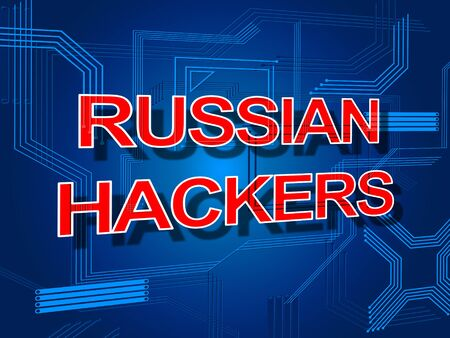 Russian Hackers Electronic Circuit Message Sign 3d Illustration Stock Photo