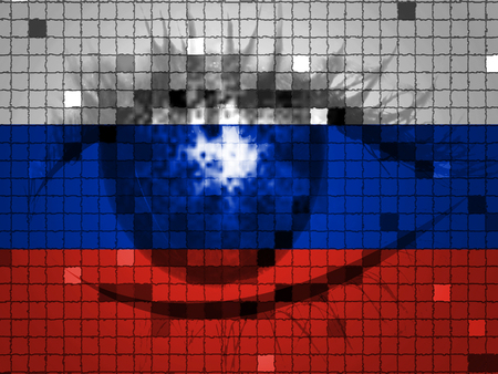 Eye On Russian Flag Showing Hacking 3d Illustration