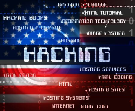 Hacked American Words Shows Hacking Election 3d Illustration