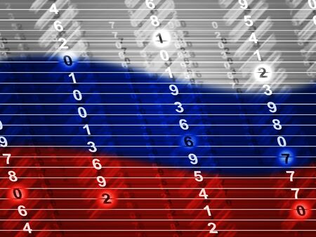 Russia Flag And Digits Showing Hacking 3d Illustration