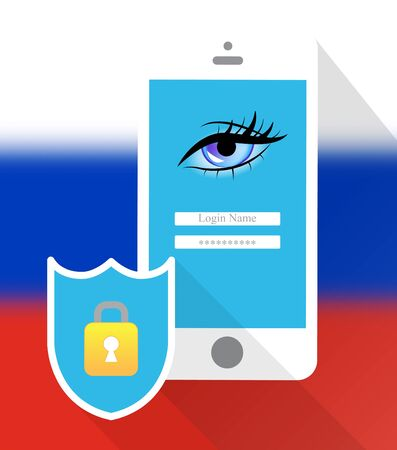 Mobile Phone Locked On A Russian Flag 3d Illustration