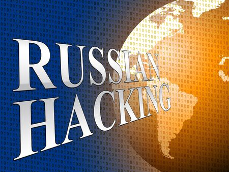 Russian Hacking Phrase And Globe 3d Illustration