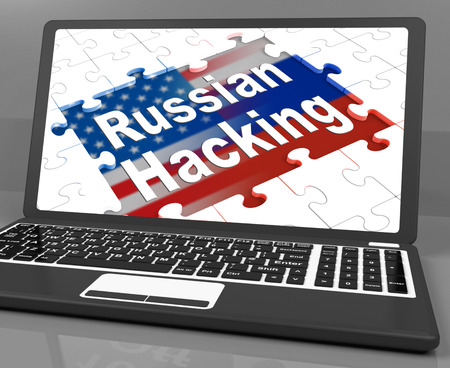 Russian Hacking Jigsaw Message On Laptop 3d Illustration Stock Photo