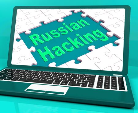 Russian Hacking Laptop Computer Showing Attack 3d Illustration