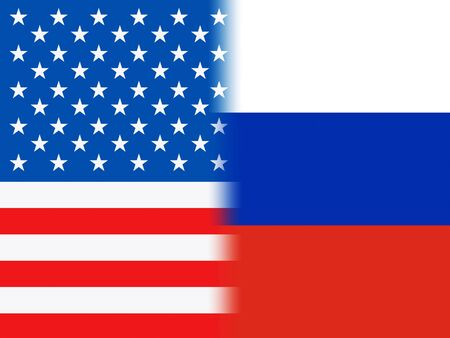 United States And Russian Flags Make Combined Background