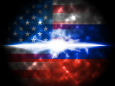 Glow On Russian Plus American Flag 3d Illustration