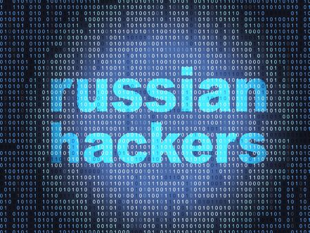 Russian Hackers On Data Background Hacking 3d Illustration