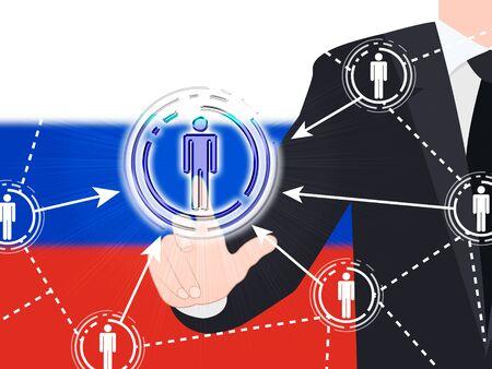 Russian Flag Social Media Button Pressed 3d Illustration