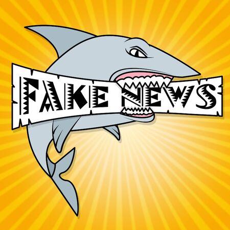 Shark Holding Fake News Message 3d Illustration
