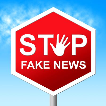Stop Fake News Road Sign 3d Illustration