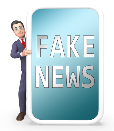 Fake News Smartphone With Businessman 3d Illustration