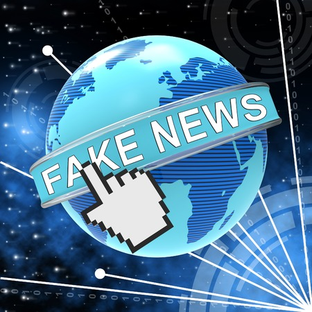 Fake News Pointer And Globe 3d Illustration Stock Photo