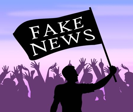 Fake News Flag Meaning Misinformation 3d Illustration Stock Photo