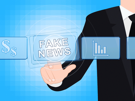 Fake News Glowing Words Being Pressed 3d Illustration Stock fotó