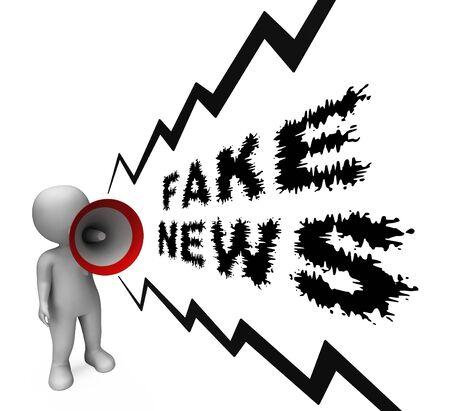 Fake News Megaphone Meaning Disinformation 3d Illustration