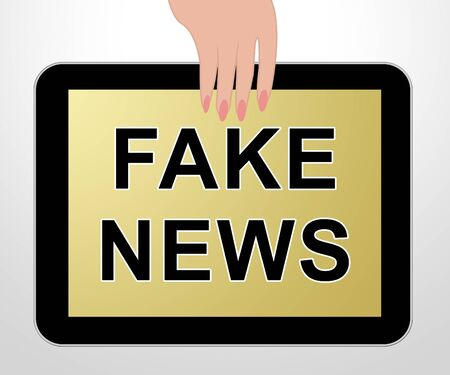 Fake News Tablet Shows Distorted Facts 3d Illustration