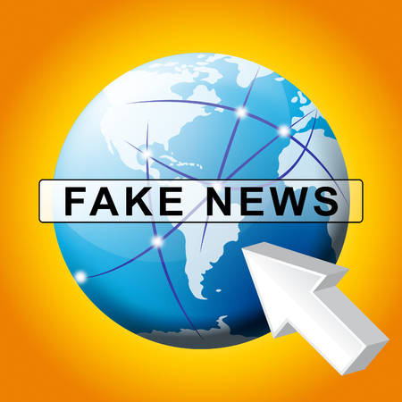 Fake News Pointer And Globe Map 3d Illustration Stock Photo