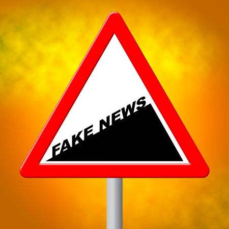 Fake News Uphill Slope Message Sign 3d Illustration Stock Photo