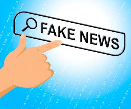 Fake News Computer Search Meaning Untrue 3d Illustration Stock Photo