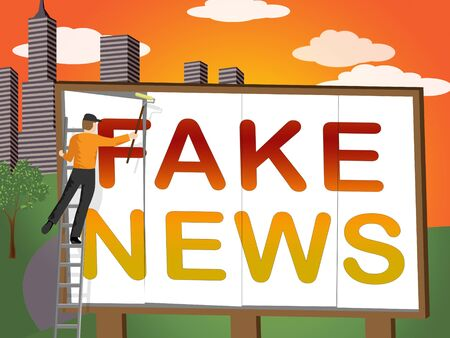 Fake News Billboard Meaning Misinformation 3d Illustration Stock Photo