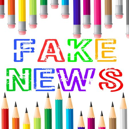 Fake News Pencils Meaning Hoax 3d Illustration