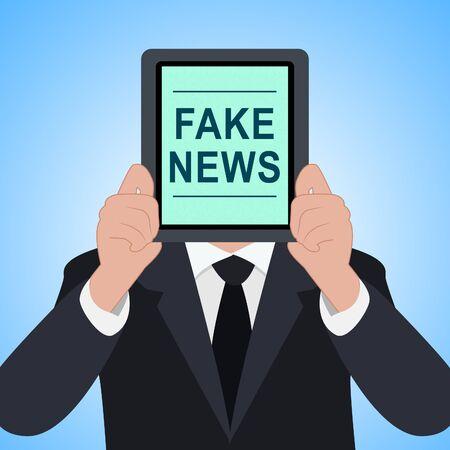 Fake News Tablet Means Alternative Facts 3d Illustration