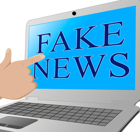 Pointing To Fake News On A Laptop 3d Illustration Stock Photo