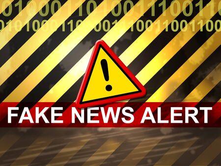 Fake News Alert Means Untrue Warning 3d Illustration Reklamní fotografie