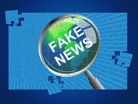 Fake News Magnifier And Map Jigsaw 3d Illustration Stock Photo
