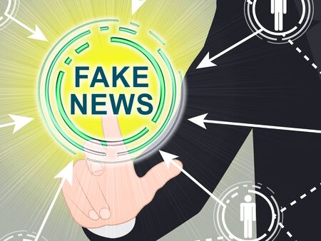 Fake News Glowing Button Pressed 3d Illustration Stock fotó