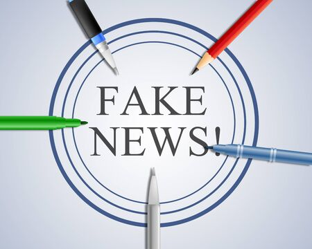 Fake News Pens Meaning Falsehood 3d Illustration Stock Photo