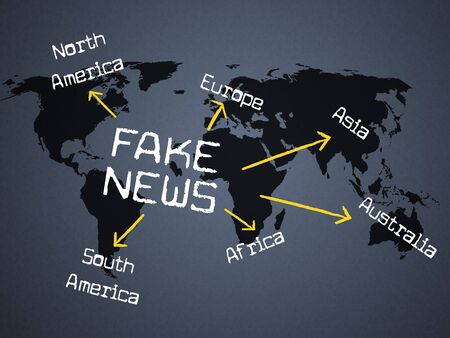 Fake News Arrows On Map 3d Illustration Stock Photo