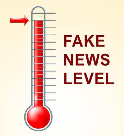 Fake News Levels Showing Untruth High 3d Illustration