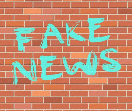 Fake News Painted On Wall 3d Illustration Stock Photo
