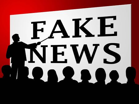 Fake News Lecture Showing Propaganda 3d Illustration Stock Photo