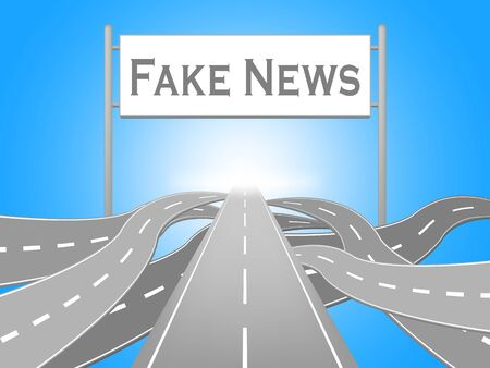 Fake News Misleading Roads Sign 3d Illustration Stock Photo