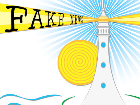 Fake News Lighthouse Light Beam Untruth 3d Illustration
