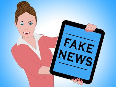 Woman With Fake News Tablet 3d Illustration