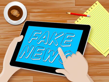 Fake News Tablet Showing Distorted Facts 3d Illustration